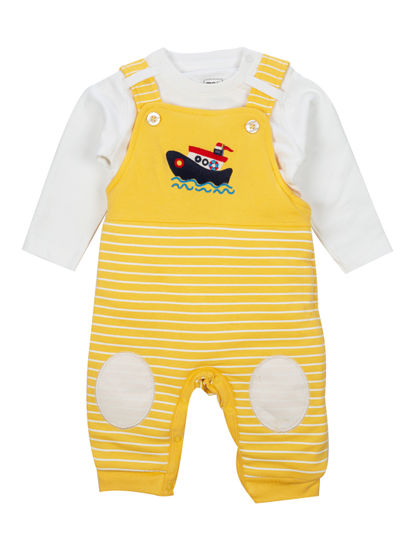 Mee Mee Full Sleeve Boys Dungaree Set (Yellow_White)