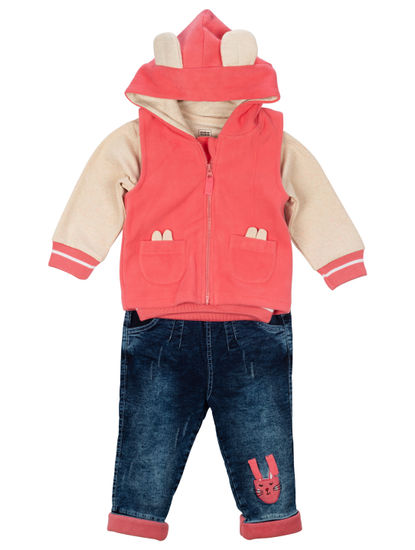 Mee Mee Girls Full Sleeve Top With Jacket & Pant Set