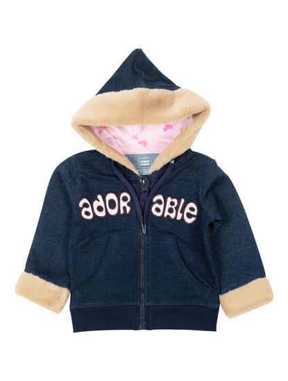 Mee Mee Full Sleeve Girls Jacket (Navy_Melange)