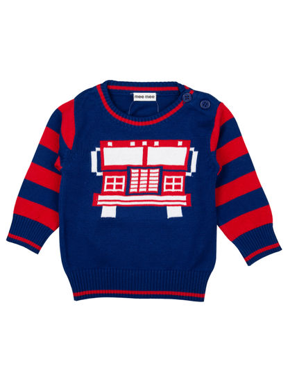 Mee Mee Full Sleeve Boys Sweater (Blue_Red)