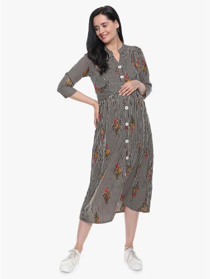 Mee Mee Stylish Maternity Dress With Nursing Option ? Beige & Black