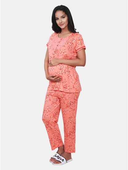 Mee Mee Maternity Cotton Nightsuit with Feeding Zipper (Coral_XXL)