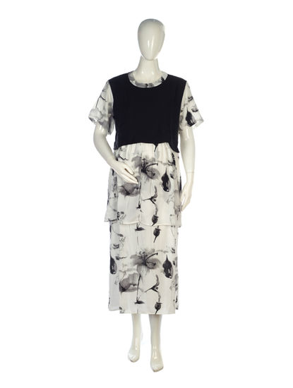Mee Mee Fashionable Maternity Dress With Feeding Zip ? White & Black