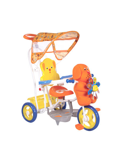 Mee Mee 2 in 1 Baby Tricycle with Rocking Function with Canopy (Orange)