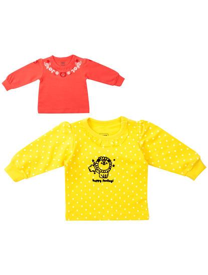Mee Mee Girls Pack Of 2 Top – Yellow & Dark Pink