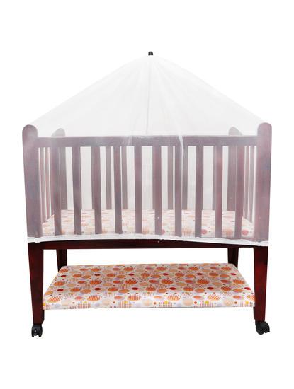 Mee Mee Baby Wooden Cot With Cradle, Swing & Mosquito Net (Cream)