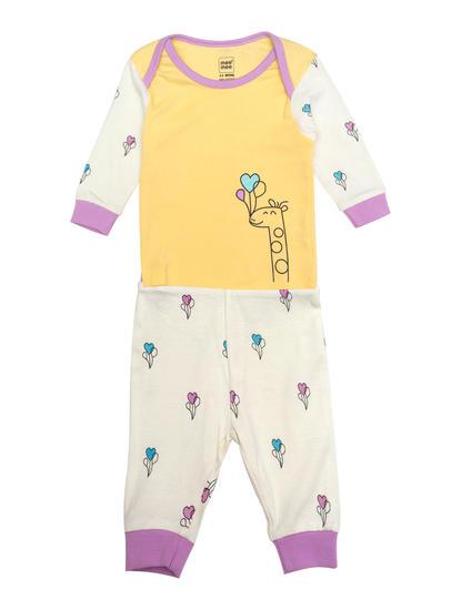 Mee Mee Full Sleeve Unisex Giraffe Print Night Suit (Yellow_White)