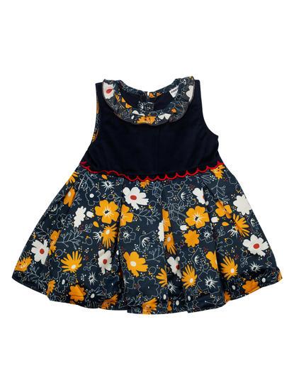 Mee Mee Full Sleeve Girls Floral Printed Frocks With T-Shirt (Melange_Navy)