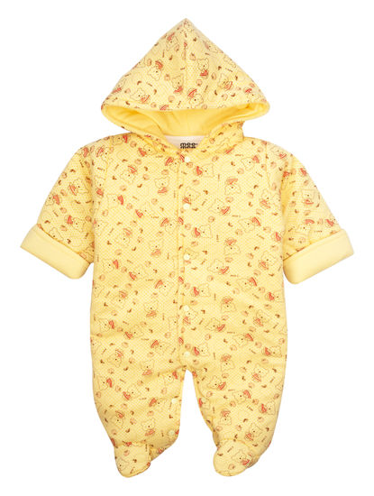 Mee Mee Full Sleeve Unisex Printed Hooded Romper (Yellow)