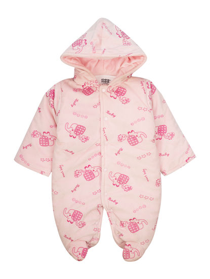 Mee Mee Full Sleeve Printed Unisex Hooded Romper (Pink)
