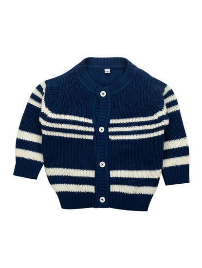 Mee Mee Full Sleeve Boys Jacquard Striper Design Sweater (Navy_White)
