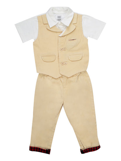 Mee Mee Boys Half Sleeve Bodysuit & Full Pant Set (Beige White)