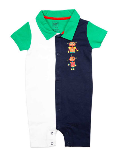 Mee Mee Half Sleeve Boys Half And Half  Solid Romper (White_Blue)