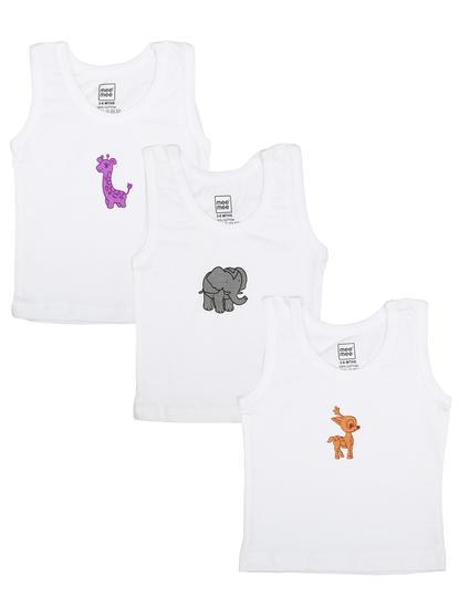 Mee Mee Boys Vests Pack Of 3 (White)