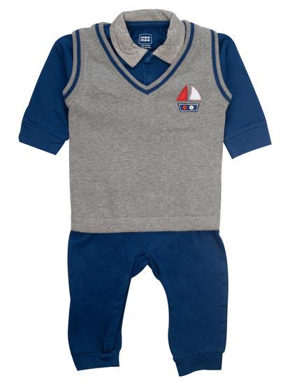 Mee Mee Full Sleeve Boys Romper With Sweater Vests (Grey Melange_Navy)