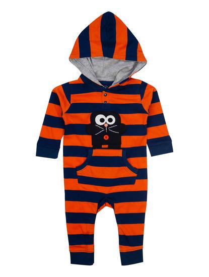 Mee Mee Full Sleeve Striper Boys Hooded Romper (Orange)