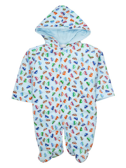 Mee Mee Full Sleeve Unisex Printed Hooded Romper (Blue)