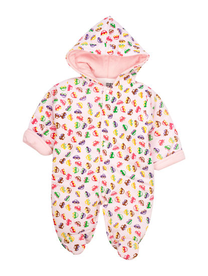 Mee Mee Full Sleeve Unisex Printed Hooded Romper (Pink)
