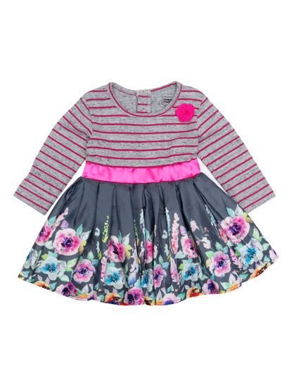 Mee Mee Full Sleeve Pink & Grey Stripe With Floral Printed Satin Girls Frocks (Coral Grey)