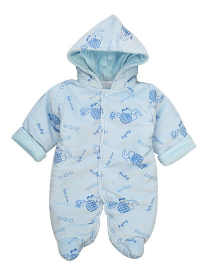 Mee Mee Full Sleeve Printed Unisex Hooded Romper (Blue)