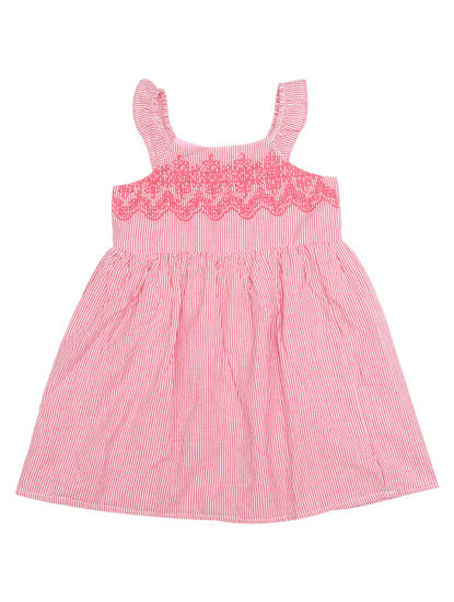 Mee Mee Sleeveless Pink Stripe With Embroidery Girls Frocks (Pink)