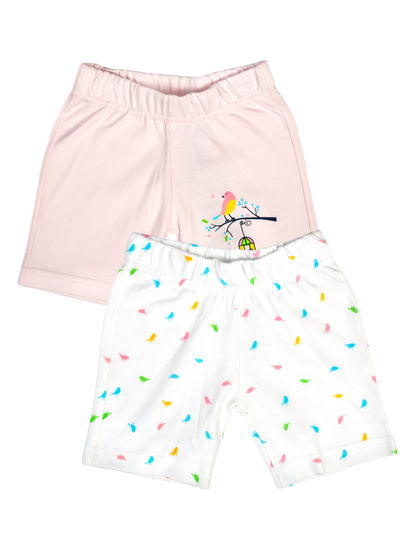 Mee Mee Baby White & Pink Bird Print Shorts - Pack Of 2