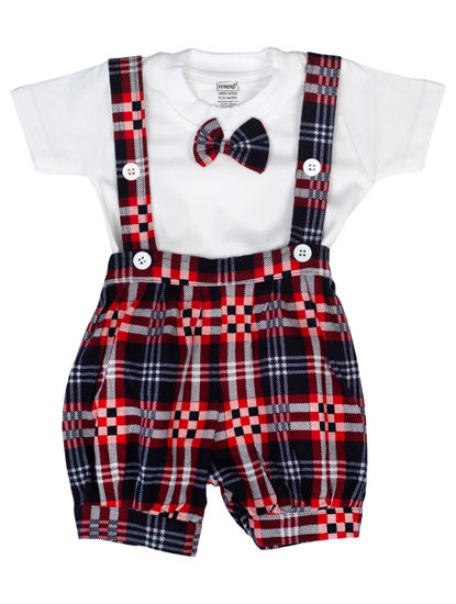 Mee Mee Short Sleeve Tee Checks Dungaree Set With Bow