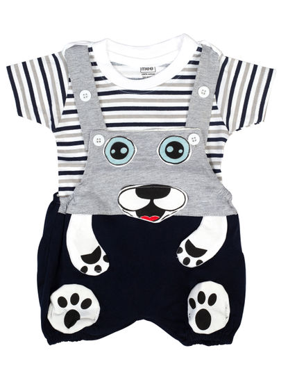 Mee Mee Short Sleeve Striped Tee Cute Face Dungaree Set