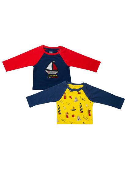 Mee Mee Boys Pack Of 2 T-Shirt – Yellow & Navy