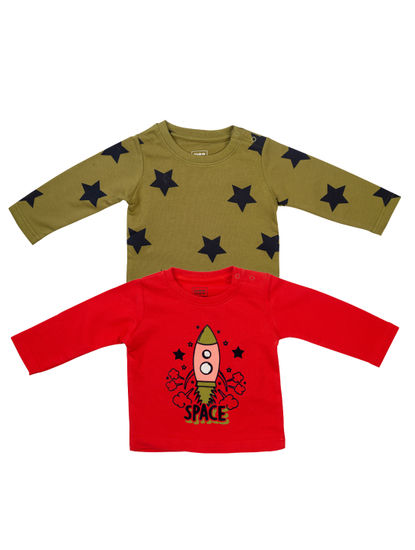 Mee Mee Boys Pack Of 2 T-Shirt – Red & Light Olive
