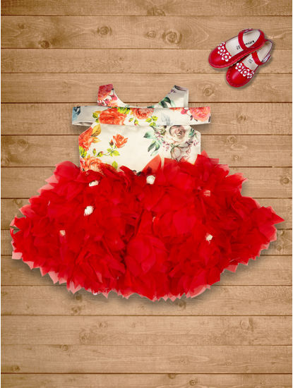 Mee Mee Girls Sleeveless Party Frock (Red)