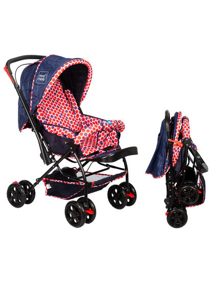 Red & Navy Baby Pram with Adjustable Seating Positions and Reversible Handle