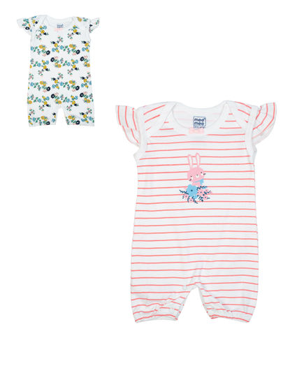Mee Mee Kids Floarl And Striped Sleeveless Half Romper – Pack Of 2