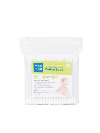 Mee Mee Cotton Buds (White, 100 Pieces per Pack)