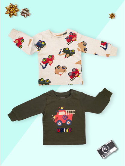 Mee Mee Boys Pack Of 2 T-Shirt ? Oat Melnage & Olive