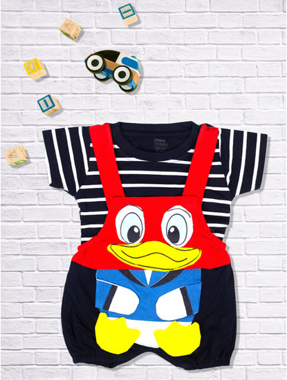 Mee Mee Short Sleeve Striped Tee Donald Duck Dungaree Set