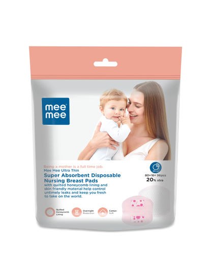 Mee Mee Ultra Thin Super Absorbent Disposable Nursing Breast Pads 80+16 Pads Free (96 Pads)