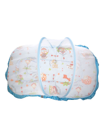 Mee Mee Baby Mattress Set with Mosquito Net & Pillow– (Blue)