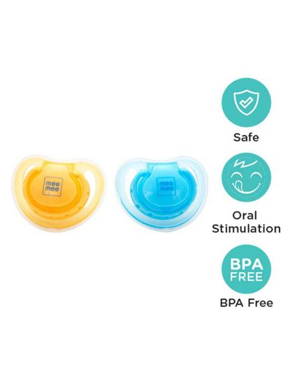 Mee Mee Baby Pacifier with Soft Nipple (Blue/Yellow)