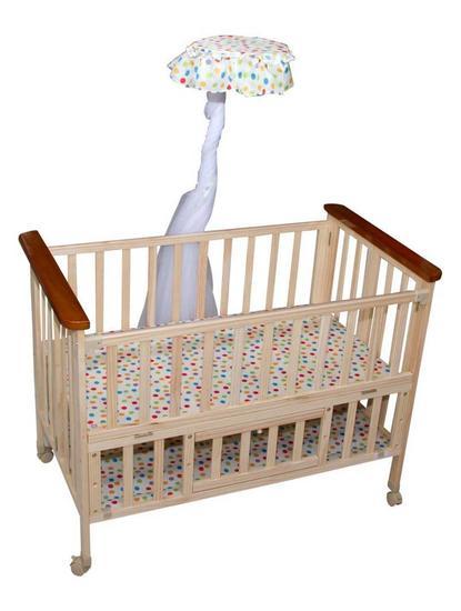 Mee Mee Wooden Baby Cot with Adjustable Height & Mosquito Net (Brown)