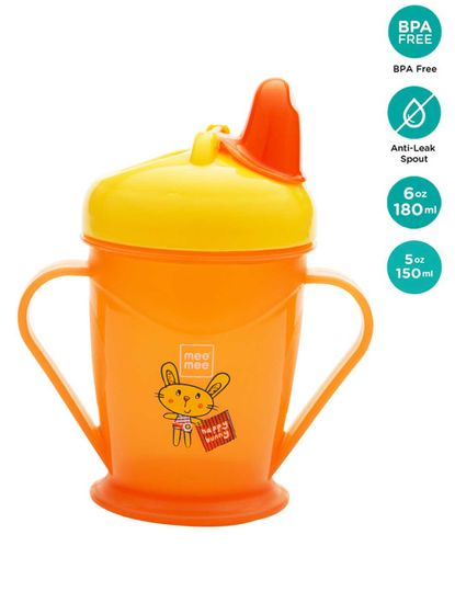 Mee Mee Easy Grip Sipper Cup with Twin Handle (180 ml, Orange)