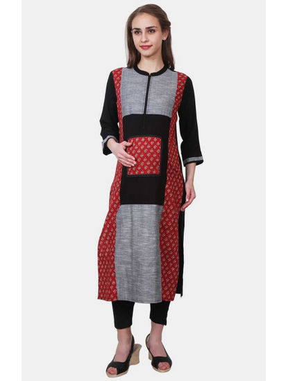 Mee Mee Black and Maroon Printed Maternity Kurta