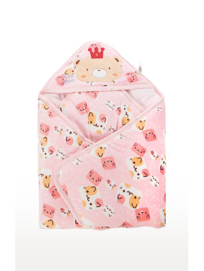 Mee Mee Baby Wrapper Blanket with Hood – Pink