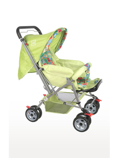 Green Comfortable Pram with 3 Seating Position