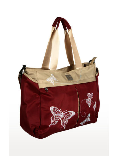 Maroon Multifunctional Diaper Bag with Pockets