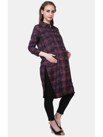 Mee Mee Navy Checked Maternity Top