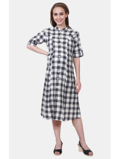Mee Mee Black and White Checked Maternity Dress