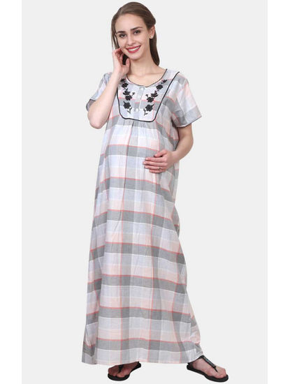 Mee Mee Grey Checked Maternity Gown