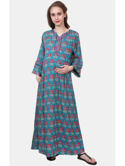 Mee Mee Green Printed Maternity Gown