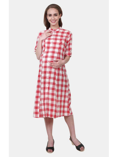 Mee Mee Red and White Checked Maternity Dress